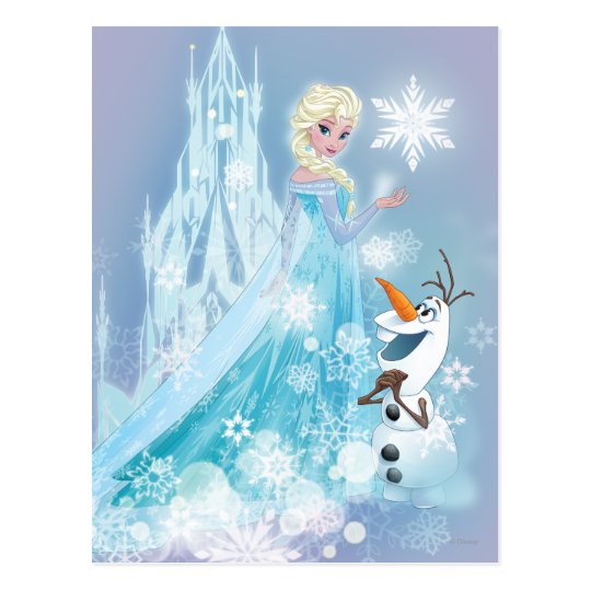 Frozen Elsa And Olaf Icy Glow Postcard