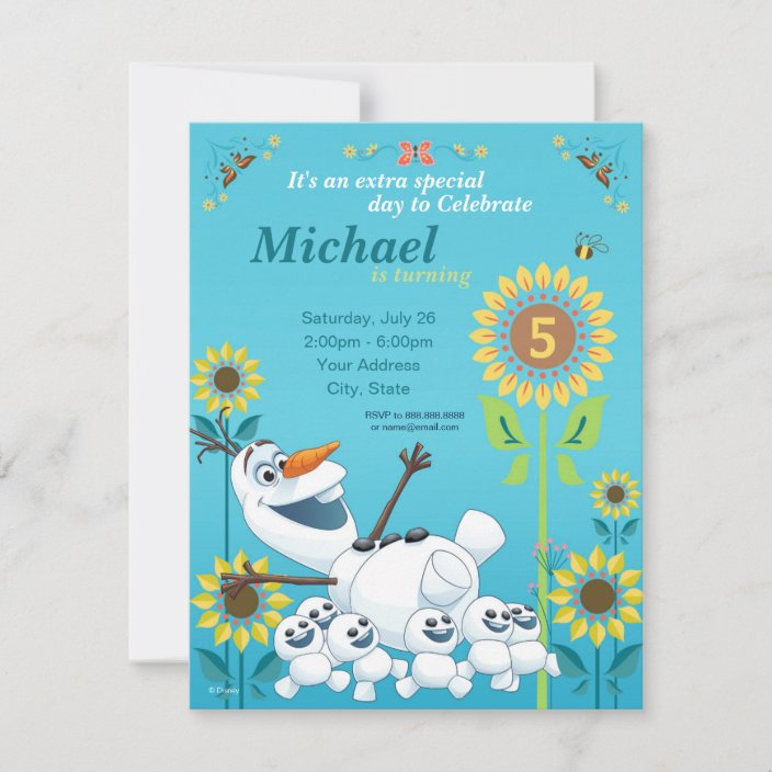 frozen summer olaf birthday party invitation zazzle com