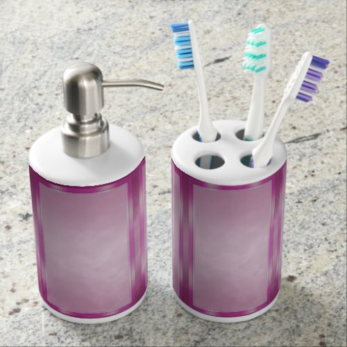 Fuchsia Marble Panels Soap Dispenser & Toothbrush Holder