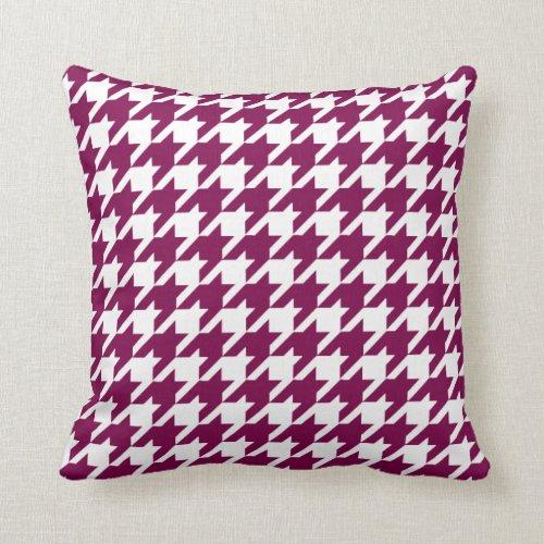 Fuchsia Pink Houndstooth Pattern Throw Pillow