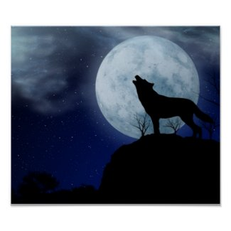 Full Moon Wolf Posters