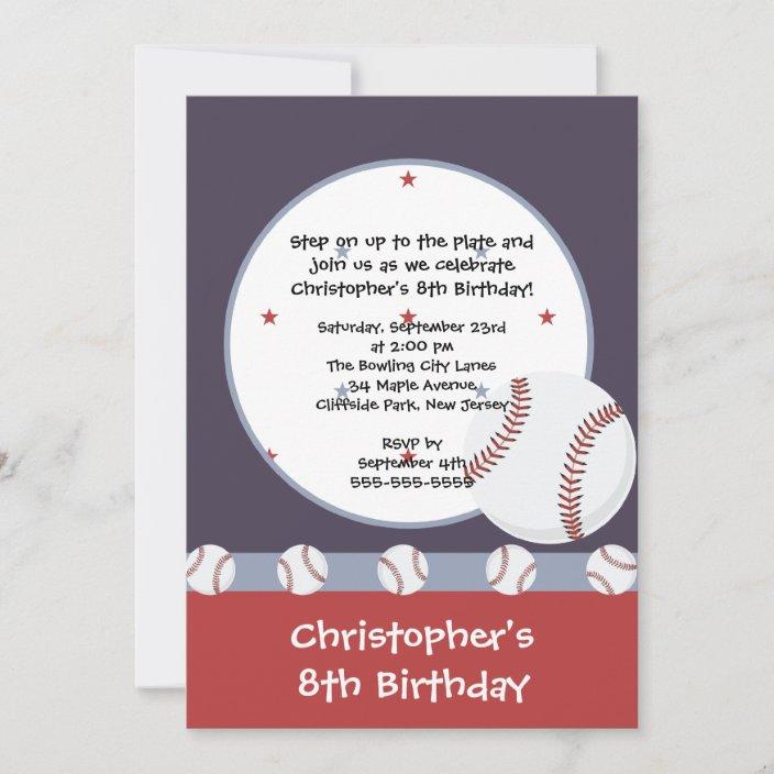 fun baseball boys birthday party invitations zazzle com