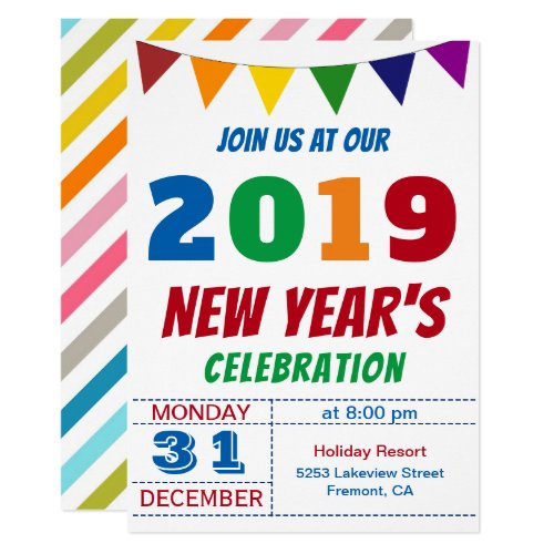 Fun Colorful 2019 New Year's Eve Party Invitation