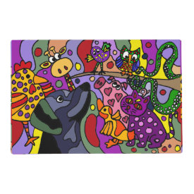 Fun Colorful Abstract Animals Placemat Laminated Place Mat
