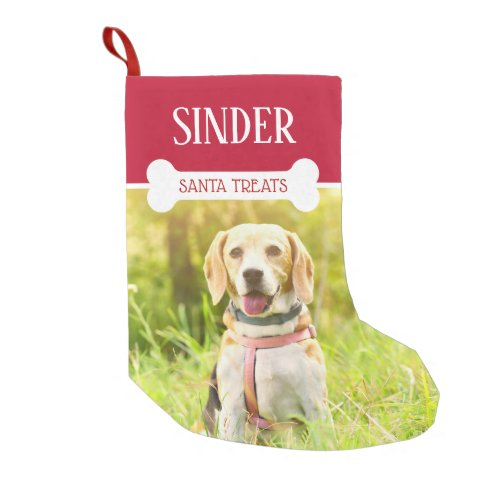 Fun Dog Photo and Name Personalized Small Christmas Stocking