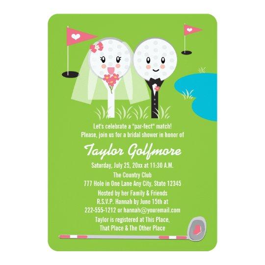 Fun Golf Ball And Tee Bride Groom Bridal Shower Invitation