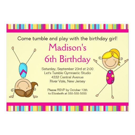 this deals fun gymnastics kids birthday party invitation luggage tags