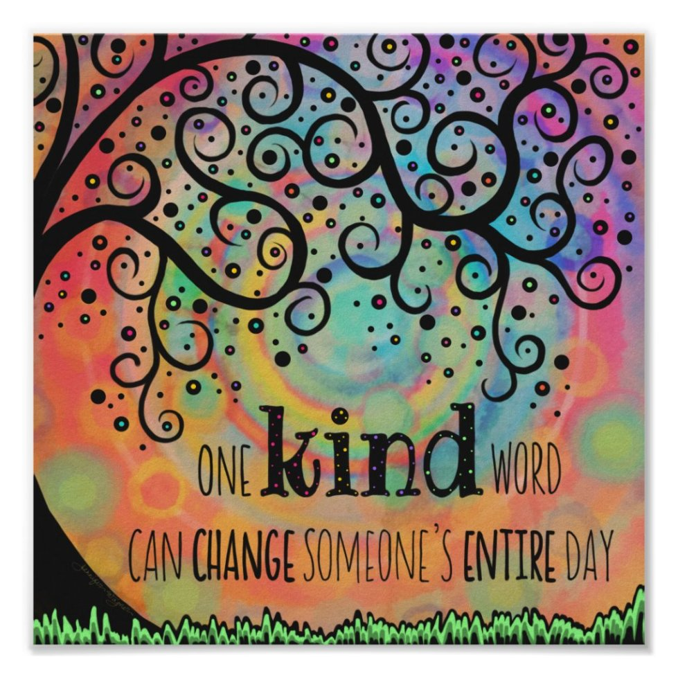 Fun Inspiring One Kind Word Classroom Poster