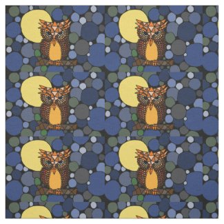 Fun Owl and Moon Abstract Art Fabric