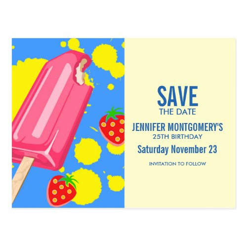 Fun Pink Popsicle and Strawberries Save The Date Postcard