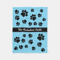 Fun Playful Paw Prints for Dog Lover's Baby BLUE Fleece Blanket