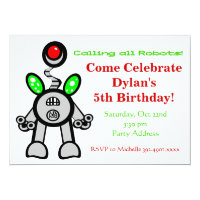 Fun Robot Birthday Party Invitations