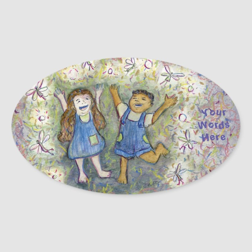 Fun with Fairies Art Custom Oval Stickers