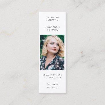 Funeral Memorial   Elegant Chic Poem Bookmark Card