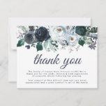 Pretty Blue Floral Funeral Sympathy Thank You Card