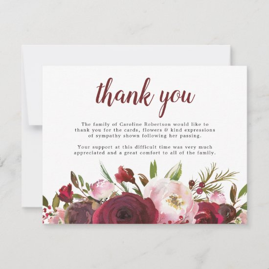 Funeral Thank You Note | Sympathy Burgundy Floral