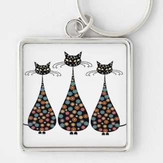 Funky Black Cat Keychain