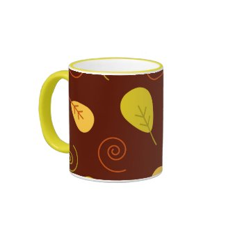 Funky fall leaves mug
