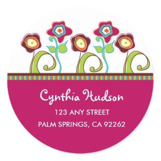 Funky Flowers Address Label Sticker
