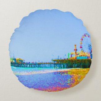 Funky Pixels Santa Monica Pier Round Pillow