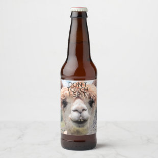 Funny Alpaca Llama Don't Touch I Spit Beer Bottle Label