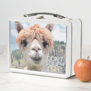 Funny Alpaca Llama Don't Touch I Spit Metal Lunch Box