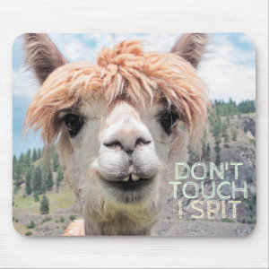 Funny Alpaca Llama Don't Touch I Spit Mouse Pad
