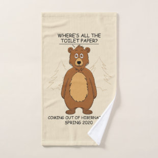 Funny Bear out of Hibernation Cartoon Bath Towel Set