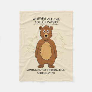 Funny Bear out of Hibernation Cartoon Fleece Blanket