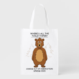 Funny Bear out of Hibernation Cartoon Grocery Bag