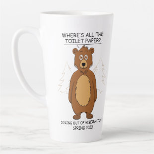 Funny Bear out of Hibernation Cartoon Latte Mug