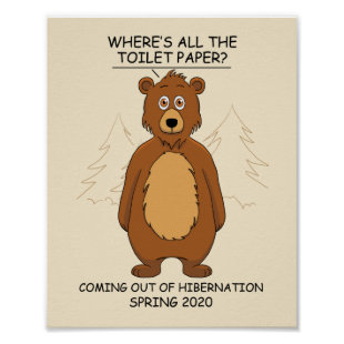 Funny Bear out of Hibernation Cartoon Poster