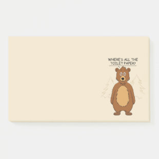 Funny Bear out of Toilet Paper Cartoon Post-it Notes
