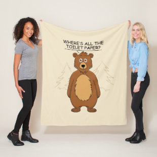 Funny Bear out of Toilet Paper Fleece Blanket