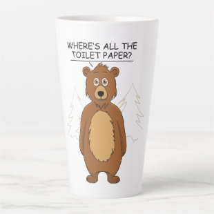 Funny Bear out of Toilet paper Latte Mug