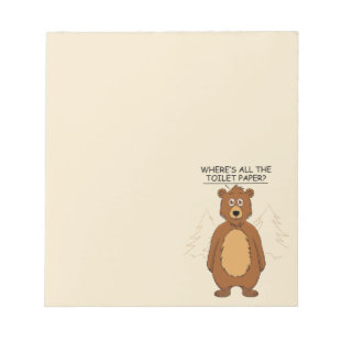 Funny Bear out of Toilet Paper Notepad
