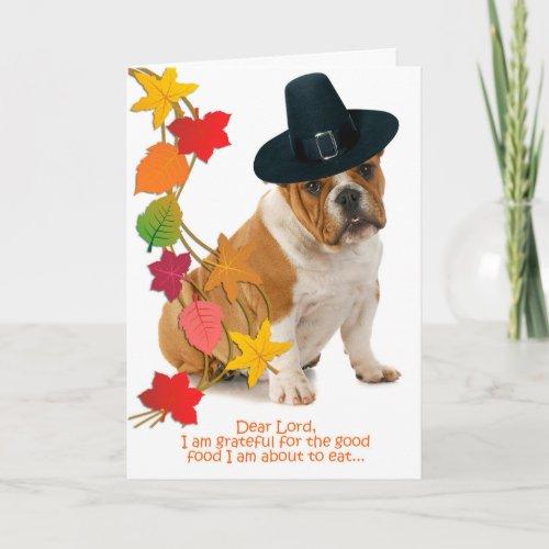 Funny Bulldog Thanksgiving Card