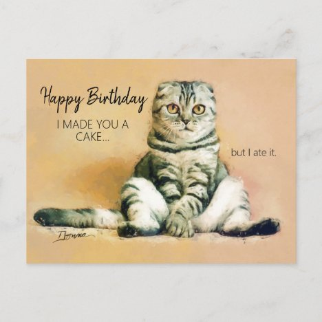Funny Cat Cake Happy Birthday Postcard