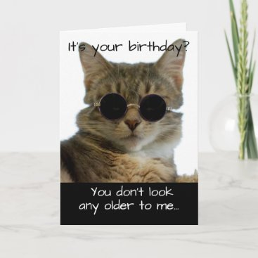 Funny Cat Wearing Glasses Birthday Card