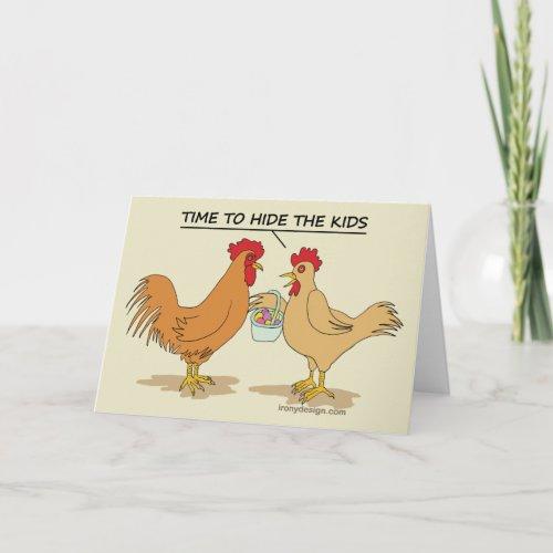 Funny Chicken Easter Egg Hunt Cartoon Beige Holiday Card