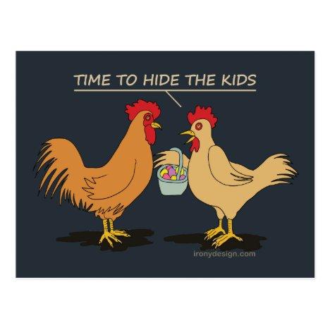 Funny Chicken Easter Egg Hunt Cartoon Blue Postcard