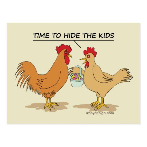 Funny Chicken Easter Egg Hunt Cartoon Postcard