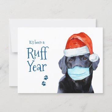 Funny Christmas Cute Pawsitive Santa Dog Ruff Year Holiday Card