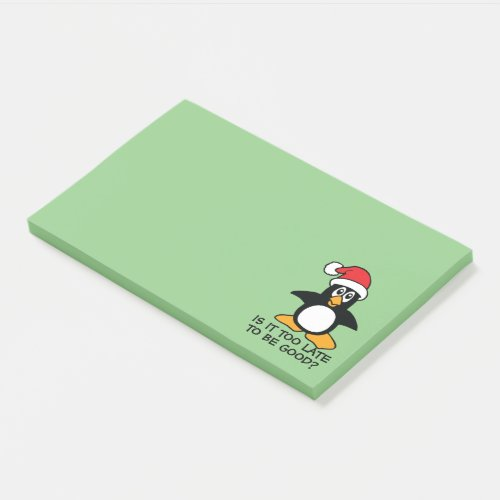 Funny Christmas Penguin Is it too late to be good Post-it Notes