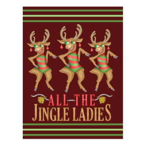 Funny Christmas Reindeer All the Jingle Ladies Postcard