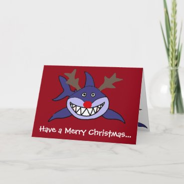 Funny Christmas Shark Reindeer Holiday Card