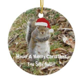 Funny Christmas Squirrel Ornament ornament