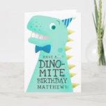 Fun Blue Have A Dino Mite Birthday Greeting Card