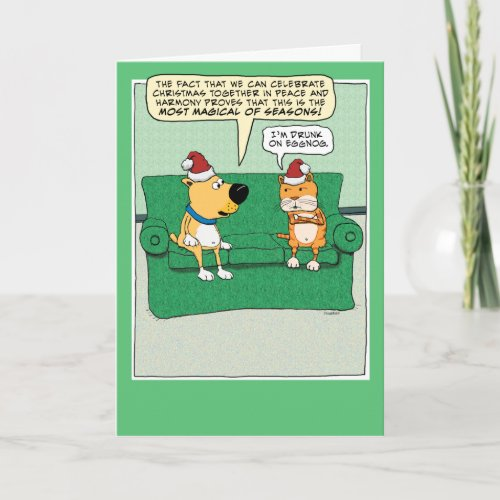 Funny Dog and Cat Celebrate Christmas Holiday Card