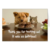 Funny dog and cat thank you for the dinner card